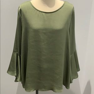 Olive Green Bell Sleeve Blouse